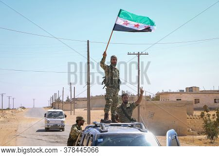 Aleppo, Syria, January 4, 2017:\nsyrian Armed Opposition Soldiers Celebrate The Military Vehicles Af
