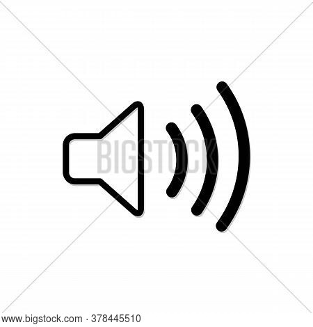 Sound Icon Vector Line, Flat Style Isolated On White Background