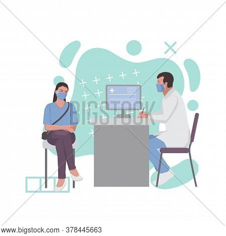 A Woman At A Doctor Appointment. Fashion Composition With Abstract Elements.