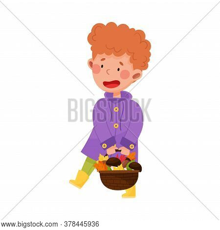 Happy Boy Character In Rubber Boots And Raincoat Picking Mushrooms In The Forest Vector Illustration
