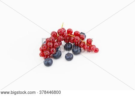 Close Up Of A Bunch Of Delicious Looking Red Currant On Top Of A Few Blackberries On A Light Backgro