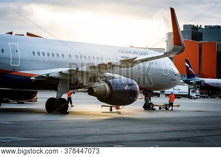 October 29, 2019, Moscow, Russia. Plane Airbus A321-200 Aeroflot - Russian Airlines At Sheremetyevo