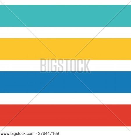 Vector Horizontal Striped Summer Colors Seamless Pattern Background. Blue, Orange, Red Wide Stripes