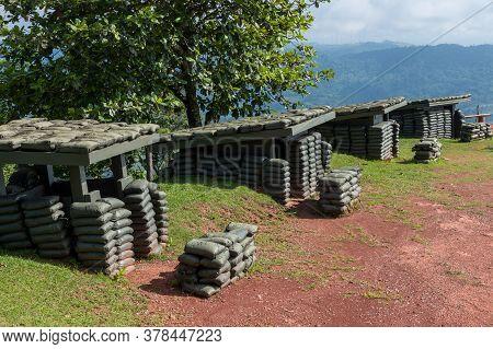 Sandbag Bunker Of The Old Military Bunker Base On The Mountain. Old Bunker War Make Of Sandbag For T