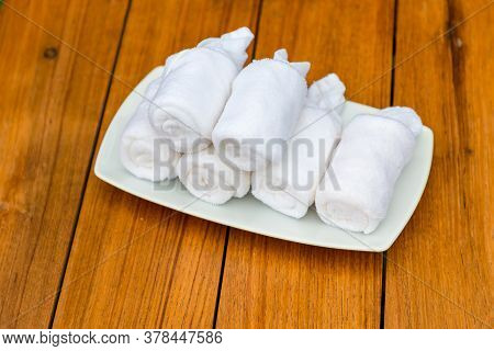 Cold Towels, Welcome In The Hotel. Wet Welcoming Refreshing Towels At The Eastern Restaurant. Welcom