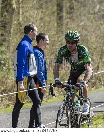 Wallers,france - April 12,2015: The French Cyclist, Yannick Martinez Of Team Europcar Riding On A Co