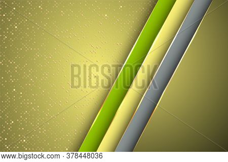 Gold Halftone Dots And Inclined Ribbon Stripes Banner Vector Design. Rich Poster Background Template
