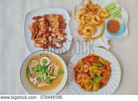 Traditional Roasted Streaky Pork, Tom Yum Kung, Fried Calamari And Sweet And Sour Chicken, Manu Set