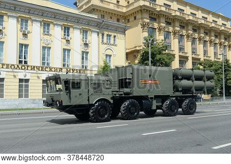 Moscow, Russia - June 24, 2020:a Self-contained Launcher Of The Ball Coastal Missile Complex On Mokh
