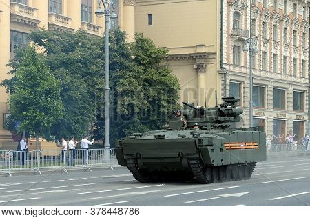 Moscow, Russia - June 24, 2020:kurganets-25 Infantry Fighting Vehicle With The Epoch Combat Squad On