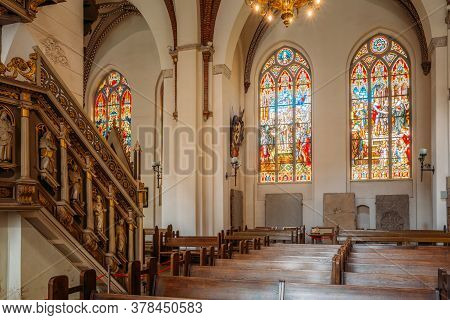 Riga, Latvia - July 2, 2016: Stained Glass Windows Of The Riga Dom Dome Cathedral Church. Decorative