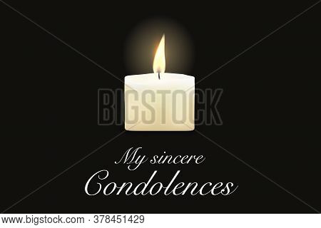 Funeral Card Candle, Condolence Obituary Message, Vector Template. Death Mourning Memory Card With W
