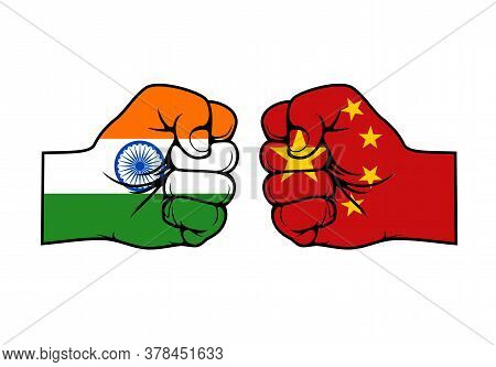 India And China Confrontation Flags Fists, Vector Icons Of Conflict Opposition Face-off Relationship