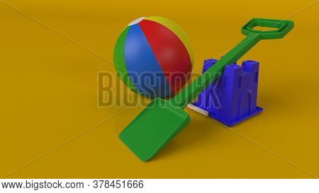 3d render of Colourful plastic bucket and spade background