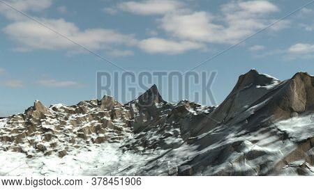 3d render of Snowy winter mountian side