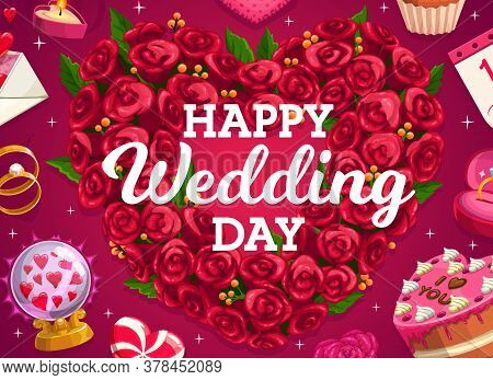 Wedding Wreath, Cake And Love Heart Of Flowers, Vector Bride And Groom Marriage Party Golden Rings.