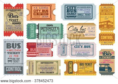 Bus Tickets Retro Coupons, City Public Transport And Intercity Bus Trip. Vector Vintage One Way And