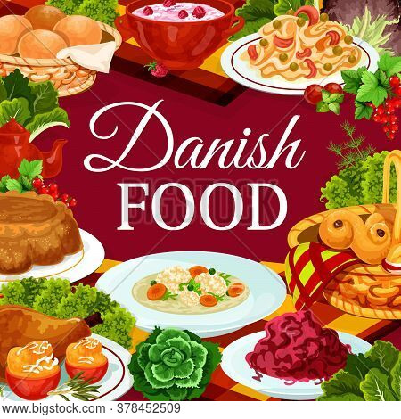 Danish Food Cuisine Scandinavian Buffet Meals And Dishes Vector Menu. Danish Apple Casserole Pastry,