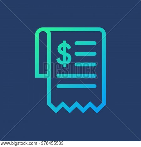 Flat Icon Bill Isolated On Blue Background. Vector Illustration.