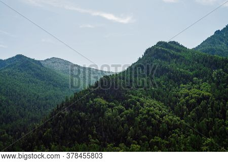 Awesome Scenic View To Green Mountains Completely Covered By Forest Under Clear Blue Sky. Lush Green