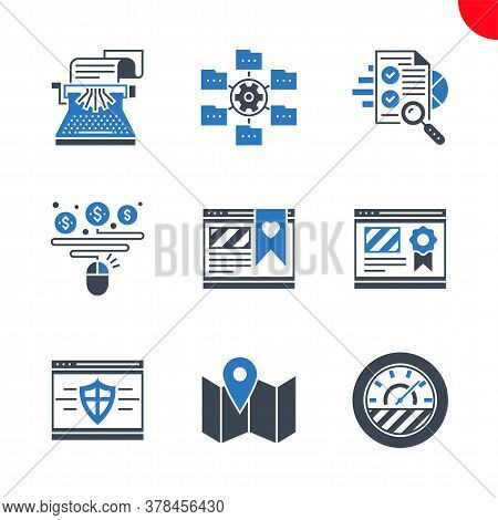 Seo Related Vector Glyph Icons Set. Isolated On White Background. Website Ranking, Copywriting, Effi