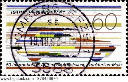 02 09 2020 Divnoe Stavropol Territory Russia The Postage Stamp Germany 1983 Automobile Exhibition Fr