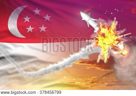 Strategic Rocket Destroyed In Air, Singapore Nuclear Missile Protection Concept - Missile Defense Mi