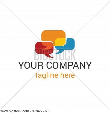 Vector Logo Template With Colorful Dialog Bubbles - For Call Center Or Online Support