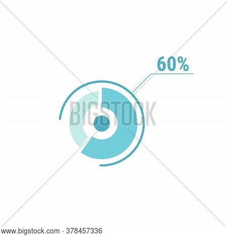 Circle Diagram Sixty Percent Pie Chart 60. Circle Percentage Vector Diagram. Flat Vector Illustratio