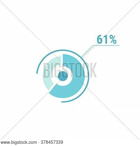 Circle Diagram Sixty One Percent Pie Chart 61. Circle Percentage Vector Diagram. Flat Vector Illustr