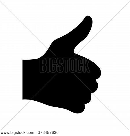Black Silhouette Of The Hand With The Thumb Raised Up On A White Background. Easily Scalable Vector