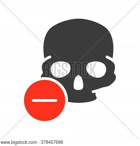 Skull With Minus Colored Icon. Bone Structure Of The Head, Cranium Symbol