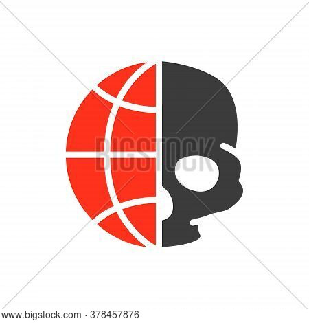 Human Skull With Planet Colored Icon. Day Of The Dead, Skull World Day Symbol