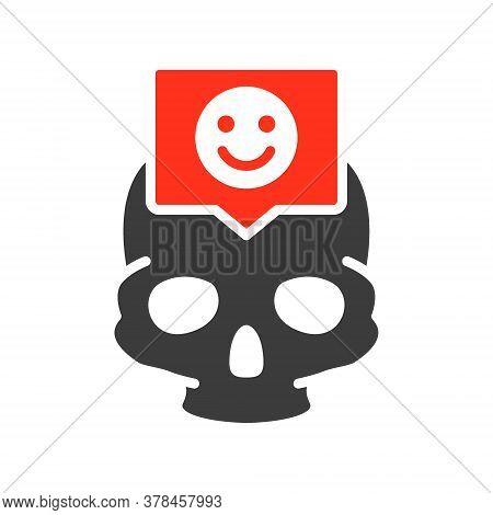 Skull With Happy Face In Speech Bubble Colored Icon. Bone Structure Of The Head, Cranium Symbol