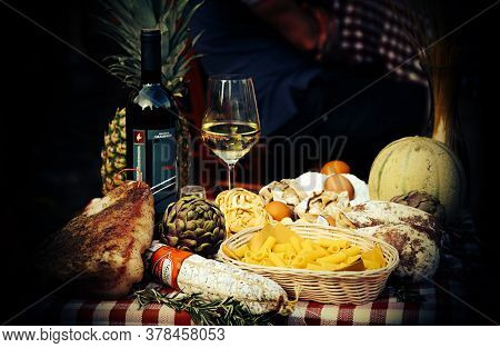 Rome, Italy - April 11, 2018: Mediterranean And Italian Food With Pasta, Cheese, Sausages, Herbs And