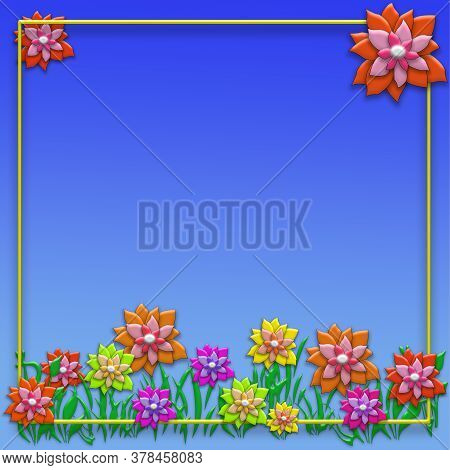 Creative Summer Concept Photo. Abstract Floral Background With Flowers, Frame And Green Grass.