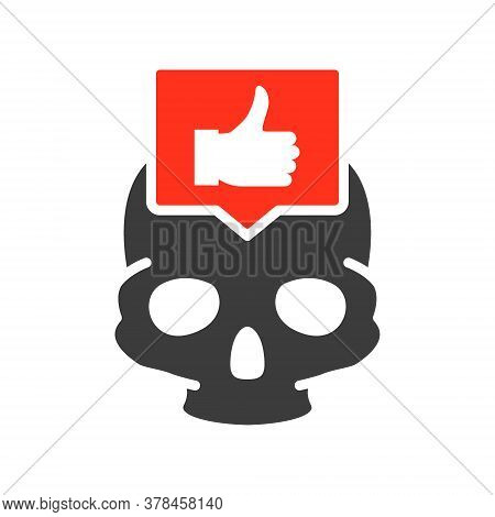 Skull With Thumb Up In Speech Bubble Colored Icon. Bone Structure Of The Head, Cranium Symbol