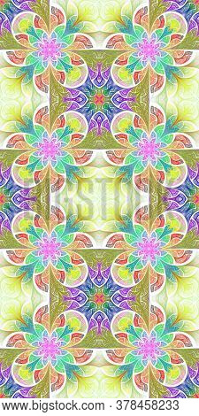 Multicolored Flower Pattern In Stained-glass Window Style. You Can Use It For Invitations, Notebook
