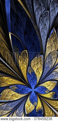 Fractal Flower Or Butterfly In Stained-glass Window Style On Black. Beige And Blue Palette. Computer