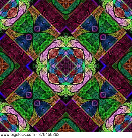 Multicolored Symmetrical Geometric Pattern In Stained Glass Style. You Can Use It For Invitations, N