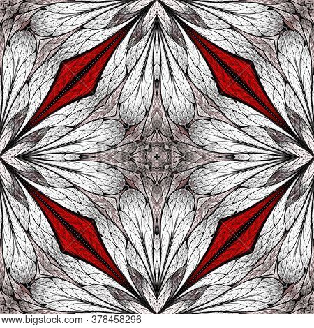 Beautiful Floral Pattern In Stained-glass Window Style. White, Red. You Can Use It For Invitations,