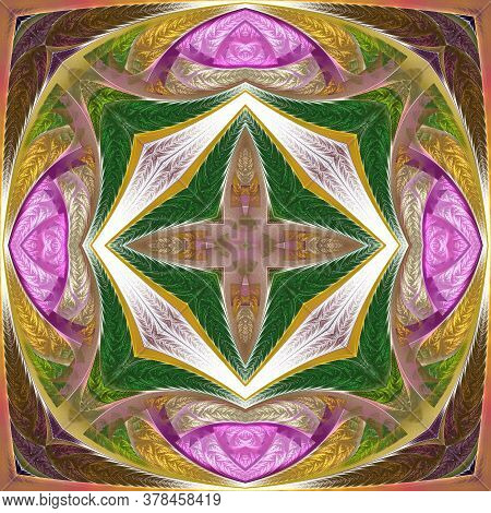 Beautiful Multicolored Flower Pattern. You Can Use It For Stained-glass Window, Tile, Mosaic, Cerami