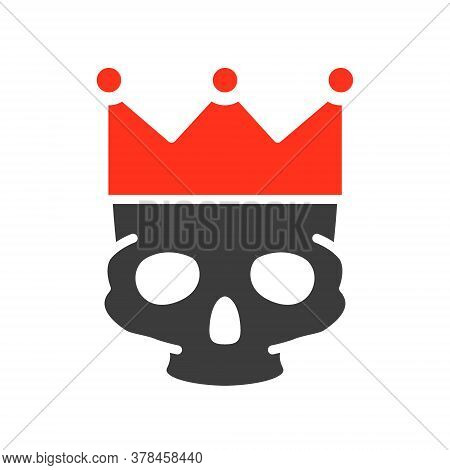 Human Skull With Crown Colored Icon. Tattoo Sketch, Cranium Symbol