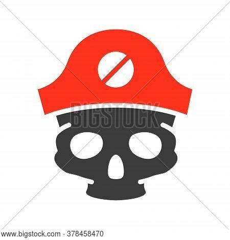 Skull With Pirate Captain Hat Colored Icon. Tattoo Sketch, Cranium Symbol