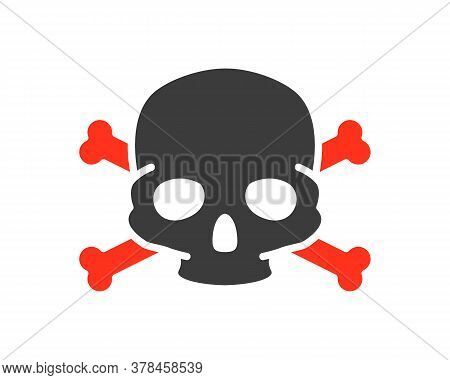 Skull With Crossbones Colored Icon. Warning Of Death, Poisonous Substances, Hazard Symbol