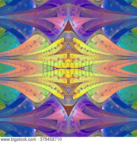 Multicolored Abstract Pattern In Stained Glass Window Style. You Can Use It For Invitations, Noteboo