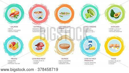 Healthy Menu Poster With Useful Information. Set Of Healthy Menu. Vitamins, Structure Of Food. Salmo