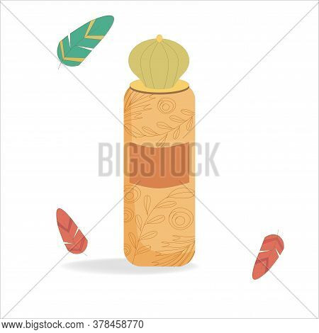 Perfume Bottle Isolated On White Background. Illustration In Boho Or Cartoon Style. On The Bottle Th
