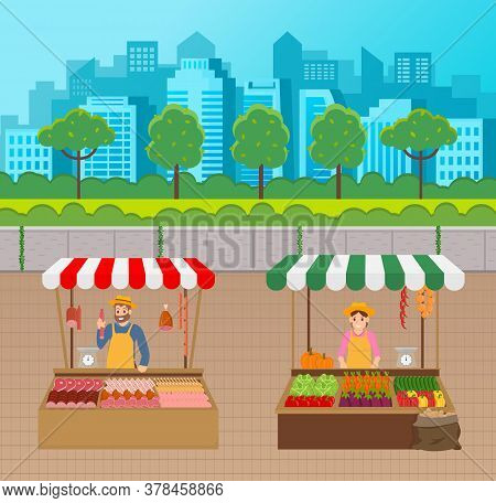 Outdoor Marketplace. Sellers Under Tents With Products At Urban Background With Silhouette Of City U