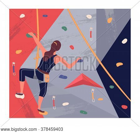 Climbing Wall Training. Young Brunette Girl Climbing At Training Wearing Sportswear Rock Wall. Woman